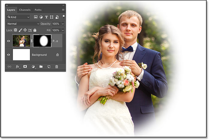 How to create a vignette effect by feathering a layer mask in Photoshop