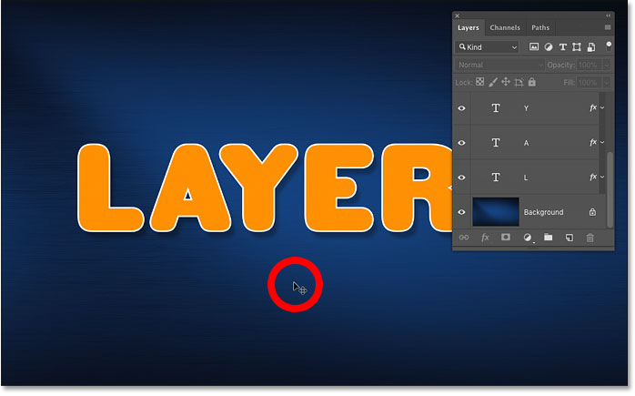 Deselecting all layers by clicking the Background layer's contents in the Photoshop document