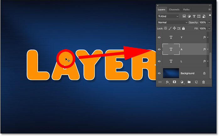 Auto-selecting a different layer in the Photoshop document