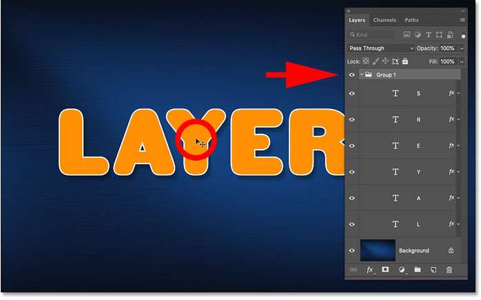 How to auto-select a layer group in Photoshop