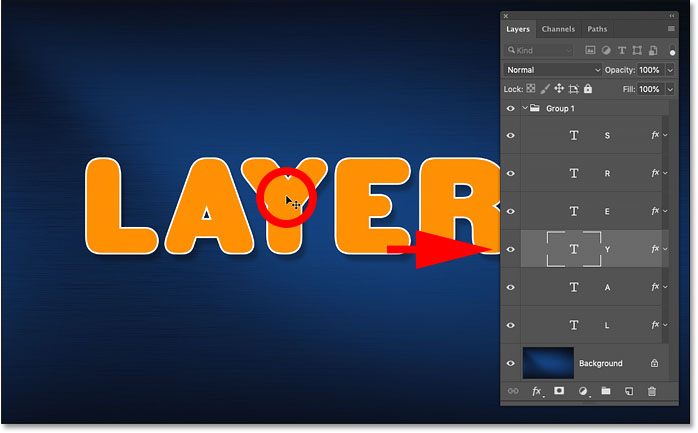 Auto-selecting a single layer in the layer group in Photoshop