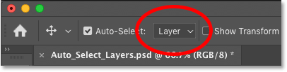 Setting Photoshop's Auto-Select option from Group to Layer