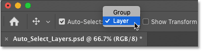 How to switch Photoshop's Auto-Select feature between layers and layer groups