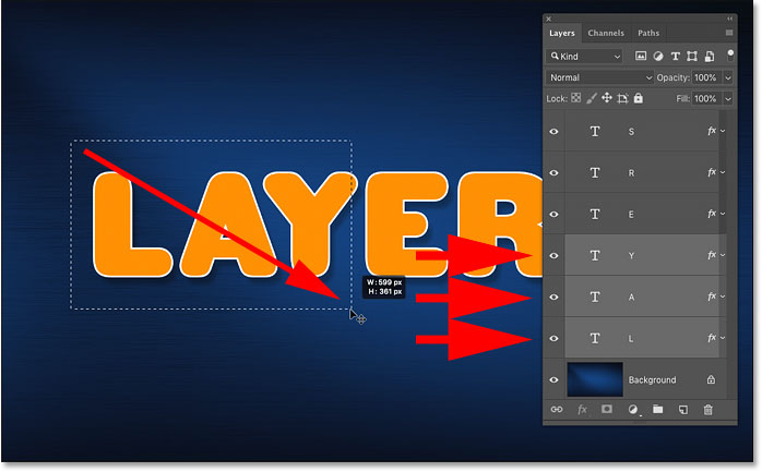 Drawing a selection with the Move Tool to auto-select multiple layers in Photoshop