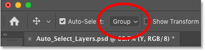 Changing the Auto-Select option to Group in Photoshop
