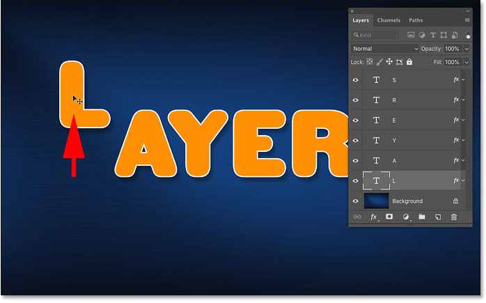 Moving the selected layer in the Photoshop document