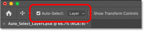 The Auto-Select layers option in Photoshop's Options Bar