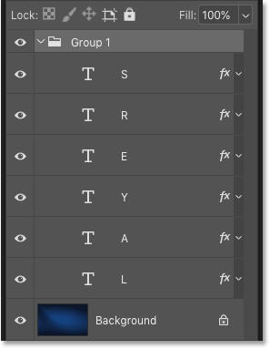 Photoshop's Layers panel showing the layer group