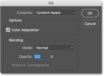 The Fill dialog box in Photoshop.