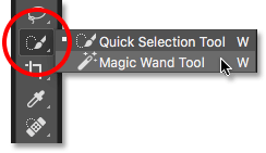 Selecting the Magic Wand Tool from the Tools panel in Photoshop.