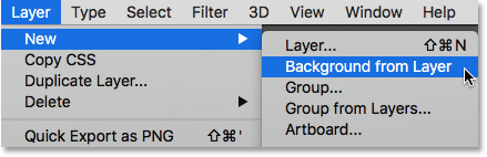 Selecting the New Background from Layer command.