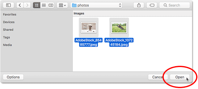 Selecting images to open into Photoshop.