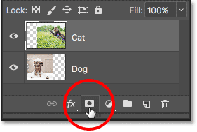 Clicking the Add Layer Mask icon in the Layers panel.
