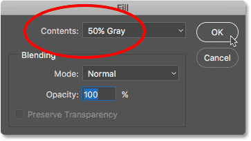 Changing the Contents option in the Fill dialog box to 50% gray.