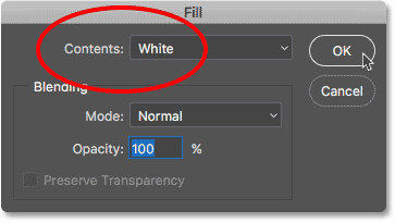 Changing the Contents option to White in the Fill dialog box.