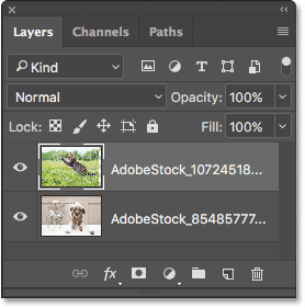 The Layers panel showing each photo on its own layer.