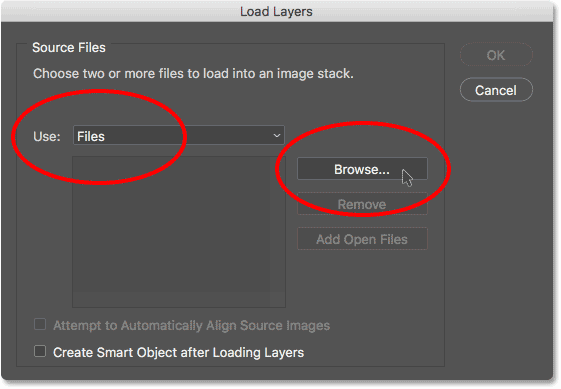 The Load Layers dialog box in Photoshop.