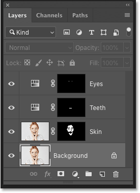 Photoshop's Layers panel showing multiple layers in the document