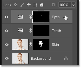 Selecting the top layer in the Layers panel in Photoshop