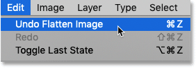 Choosing the Undo Flatten Image command in Photoshop