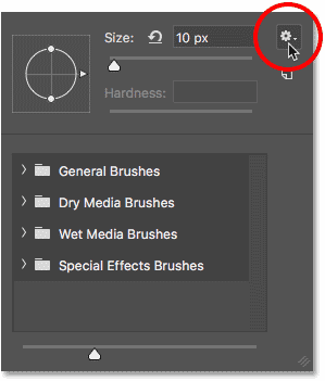 Clicking the gear icon in Photoshop's Brush Preset Picker to open the menu.