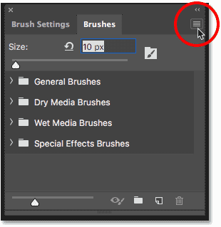 Clicking the Brushes panel menu icon in Photoshop CC 2018.