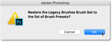 Restore the Legacy Brushes Brush Set to the list of Brush Presets in Photoshop CC 2018