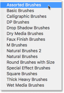 The additional brush sets found in earlier versions of Photoshop