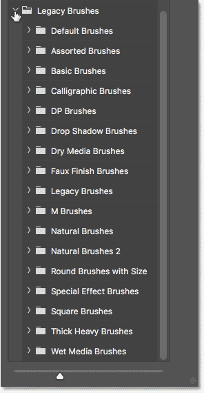 The Legacy Brushes set in Photoshop CC 2018 showing all of the missing sets from earlier versions of Photoshop