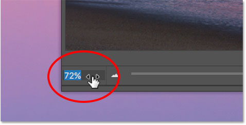 Changing the zoom level in the Navigator panel with the Scrubby Slider