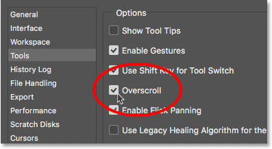 Enabling Overscroll in Photoshop CC