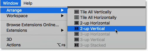 Selecting the 2-up Vertical layout in Photoshop