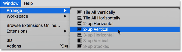 Choosing the 2-up Vertical layout in Photoshop