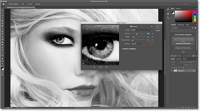 Dialog boxes in Photoshop CC 2015 now blend seamlessly with the rest of the dark interface.