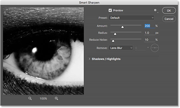 The Smart Sharpen dialog box open in Photoshop CS6.