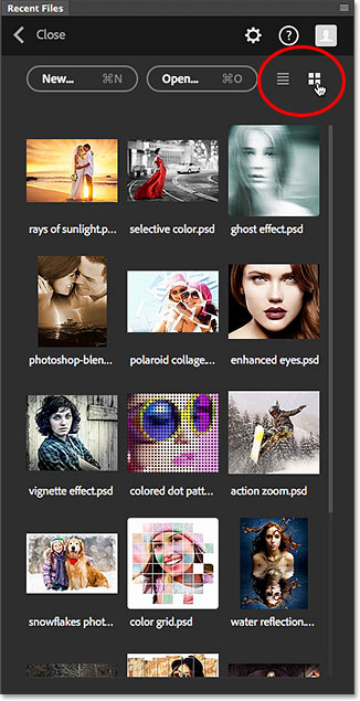 The List View and Thumbnails View icons in the Recent Files panel. Image © 2015 Steve Patterson, Photoshop Essentials.com