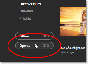 The Open button in the Start screen in Photoshop CC 2015. Image © 2015 Steve Patterson, Photoshop Essentials.com