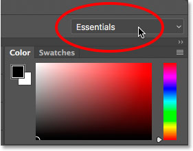 Clicking the Workspace option. Image © 2015 Steve Patterson, Photoshop Essentials.com