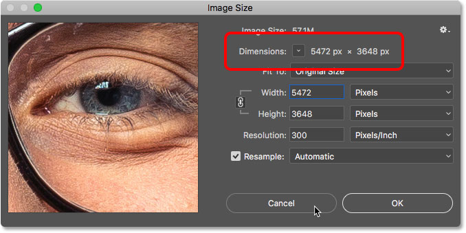 The pixel dimensions of the open document in the Image Size dialog box in Photoshop