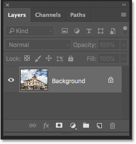 Photoshop's Layers panel showing the cropped photo on the Background layer