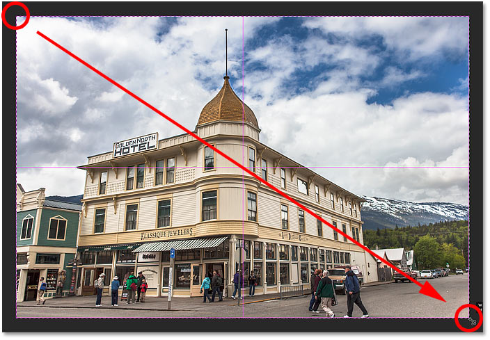 Drawing a crop border with the Perspective Crop Tool in Photoshop.