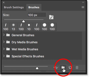 The default brush sets in the Brushes panel in Photoshop CC 2018.