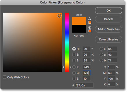 Choosing a new brush color from the Color Picker in Photoshop