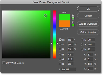 Choosing green for the new brush color in the Color Picker in Photoshop