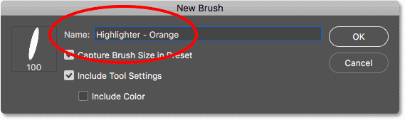 Naming the new custom brush preset in Photoshop CC 2018