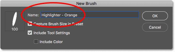 Naming the new custom brush preset in Photoshop CC 2018