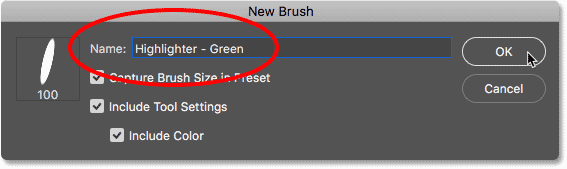 Naming and saving the second brush preset in Photoshop CC 2018