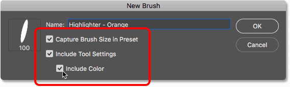 Including the brush size, tool settings and brush color in the custom brush preset in Photoshop CC 2018