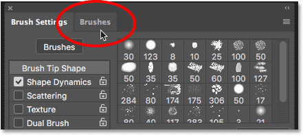 Switching to the Brushes panel from the Brush Settings panel in Photoshop CC 2018