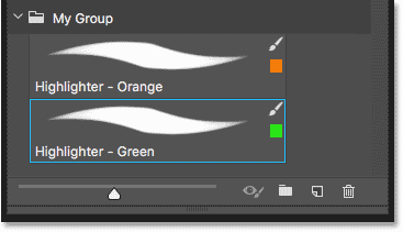 The Brushes panel showing two custom brush presets saved in Photoshop CC 2018